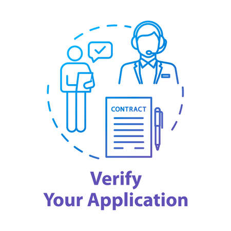 Verify your application concept icon. Deal on paper. Contract approval. Identity affirmation. Report check. Identification idea thin line illustration. Vector isolated outline RGB color drawing Ilustração