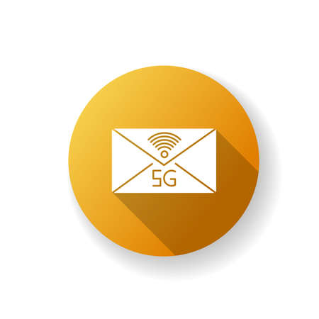 5G envelope orange flat design long shadow glyph icon. Email exchange. Fast messaging. Mobile cellular network. Communication. Wireless technology. Silhouette RGB color illustration Vektorové ilustrace