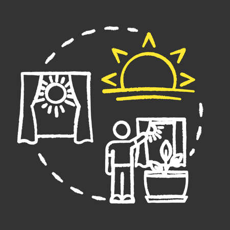 Proper lighting chalk RGB color concept icon. Home gardening. Photosynthesis. Herbs cultivating. Adequate sunlight idea. Vector isolated chalkboard illustration on black background