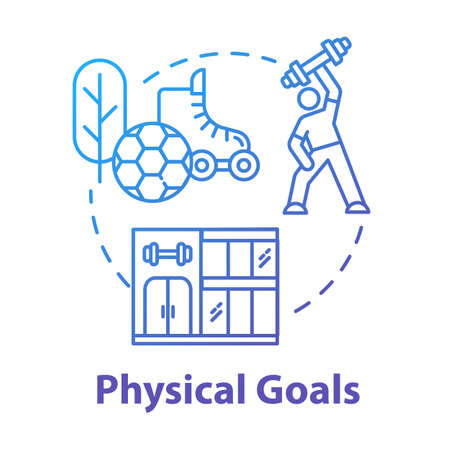 Physical goals concept icon. Sports determination. Body building. Muscular athlete. Sport workout. Self-development idea thin line illustration. Vector isolated outline RGB color drawing