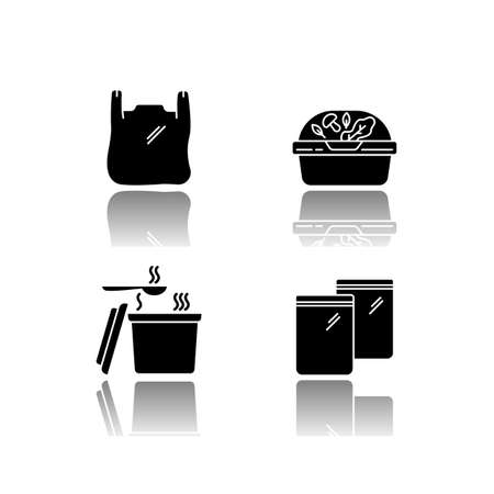 Takeout packages drop shadow black glyph icons set. Plastic bag with handles, container with lid for salad, zip packet, hot food takeaway package. Isolated vector illustrations on white space