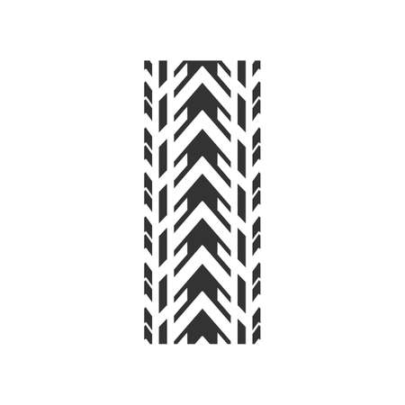 Track tread black glyph icon. Detailed automobile, motorcycle tyre marks. Car winter wheel print. All-terrain vehicle tire trail. Silhouette symbol on white space. Vector isolated illustration Ilustración de vector