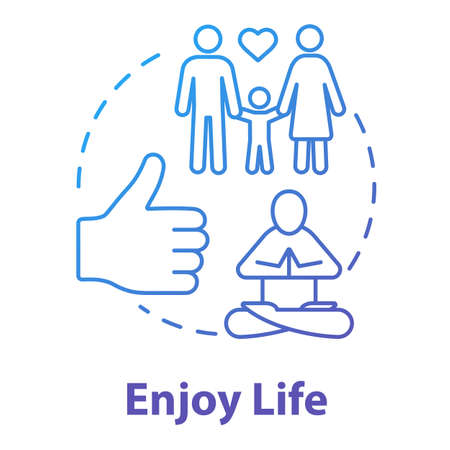 Enjoy life concept icon. Stay in good condition. Happy being. Ability to love and relax. Live full life idea thin line illustration. Vector isolated outline RGB color drawing