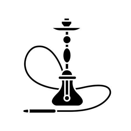 Hookah black glyph icon. Sheesha house. Assembled hooka body. Nargile lounge. Odor from pipe. Scent of vaporizing. Smoking area. Silhouette symbol on white space. Vector isolated illustration