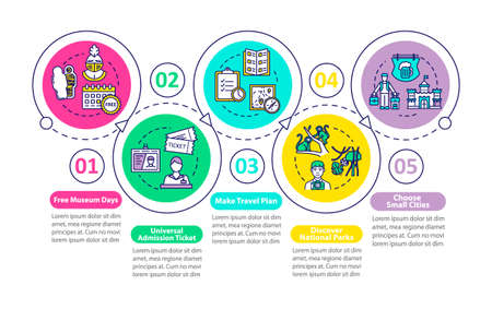 Budget tourism tips vector infographic template. Affordable travel guide presentation design elements. Data visualization with five steps. Process timeline chart. Workflow layout with linear icons Vector Illustration