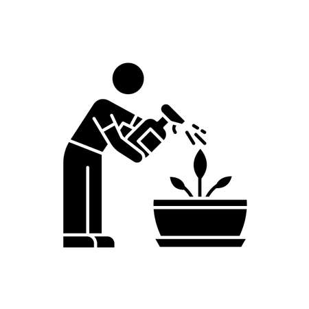 Spraying plants black glyph icon. Misting. Moisturizing, rehydrating, moistening. Plant growing, planting process. Indoor gardening. Silhouette symbol on white space. Vector isolated illustration