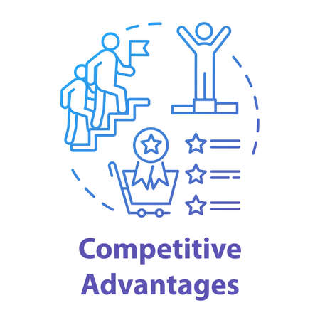 Competitive advantages concept icon. Success in work. Corporate leadership. Ambition and success. Business strategy idea thin line illustration. Vector isolated outline RGB color drawing