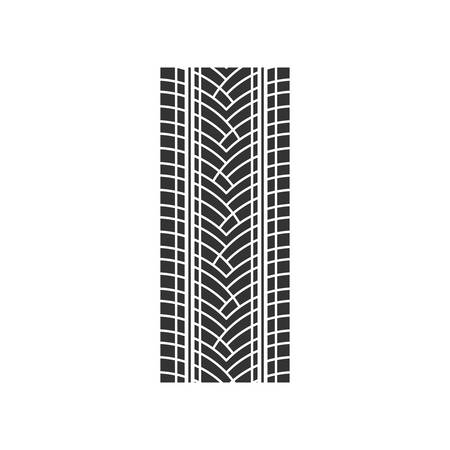 Track tread black glyph icon. Detailed automobile, motorcycle street tyre marks. Car summer wheel print. Vehicle tire trail. Silhouette symbol on white space. Vector isolated illustration 向量圖像