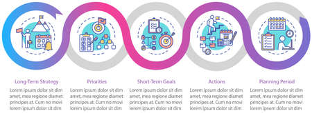 Long-term strategy vector infographic template. Achieving goals presentation design elements. Data visualization with 5 steps. Process timeline chart. Workflow layout with linear icons Ilustracje wektorowe