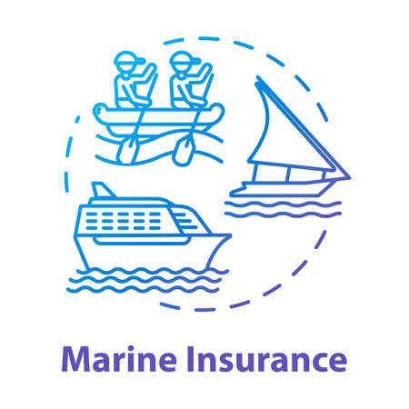 Marine insurance concept icon. Industrial property. Nautical vehicle. Ship protection. Logistic business. Cargo safety idea thin line illustration. Vector isolated outline RGB color drawing
