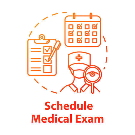 Schedule medical exam concept icon. Fill form. Clinical consultation. Doctor visit. Physical test. Health insurance idea thin line illustration. Vector isolated outline RGB color drawing