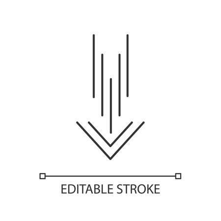 Down arrow pixel perfect linear icon. Scrolldown interface navigational button. Thin line customizable illustration. Contour symbol. Vector isolated outline drawing. Editable stroke 일러스트