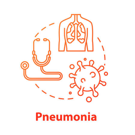 Pneumonia concept icon. Human sickness. Lung inflammation. Disease diagnosis. Respiratory illness. Bronchi, trachea. Healthcare idea thin line illustration. Vector isolated outline RGB color drawing