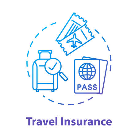 Travel insurance concept icon. Policy coverage for international tourism. Pre-paid personal service. Safety plan idea thin line illustration. Vector isolated outline RGB color drawing