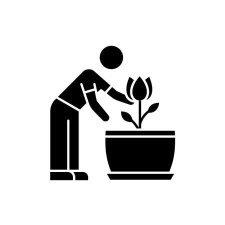 Flowering houseplant black glyph icon. Growing blooming plant. Indoor gardening. Taking care of flower. Planting. Thriving plant. Silhouette symbol on white space. Vector isolated illustration