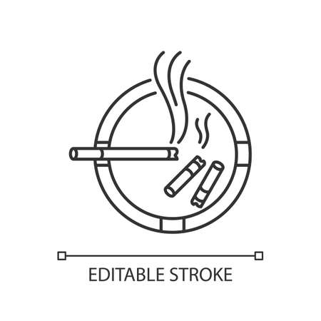 Ashtray pixel perfect linear icon. Thin line customizable illustration. Smoking addiction, dangerous habit, unhealthy lifestyle contour symbol. Vector isolated outline drawing. Editable stroke