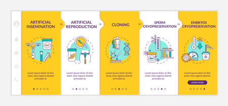 Reproductive technology onboarding vector template. Artificial reproduction. Cells cryopreservation. Responsive mobile website with icons. Webpage walkthrough step screens. RGB color concept Ilustración de vector