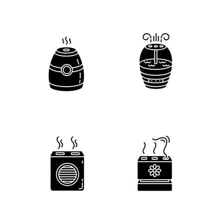 Air purifiers variety black glyph icons set on white space. Modern air humidifiers, climate control devices, different design humidity regulators. Silhouette symbols. Vector isolated illustration Illustration