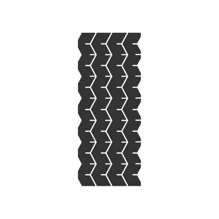 Track tread black glyph icon. Detailed automobile, motorcycle tyre marks. Car wheel trace with thin grooves. Vehicle tire trail. Silhouette symbol on white space. Vector isolated illustration