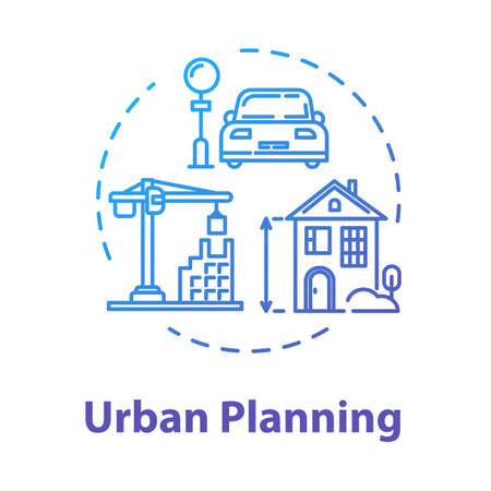 Urban planning concept icon. Housing business. Infrastructure and transportation. Suburban settlement. Building construction idea thin line illustration. Vector isolated outline RGB color drawing