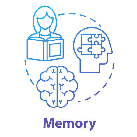 Memory concept icon. Receiving and storing information. Exam preparation. Brain informational processing system idea thin line illustration. Vector isolated outline RGB color drawing