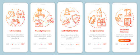 Umbrella insurance onboarding mobile app page screen with concepts. Insured property. Social guarantee walkthrough 5 steps graphic instructions. UI vector template with RGB color illustrations