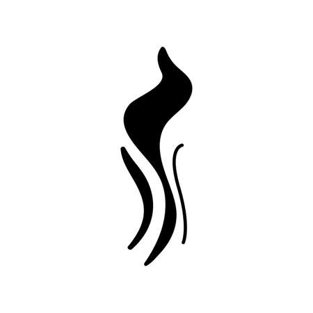 Wind swirl black glyph icon. Cold fresh air. Whirlwind. Good smell, evaporation. Smoke puff, steam, breeze. Blowing wind spirals. Silhouette symbol on white space. Vector isolated illustration