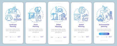 Landscape architecture onboarding mobile app page screen with concepts. Entertainment. City planning walkthrough 5 steps graphic instructions. UI vector template with RGB color illustrations