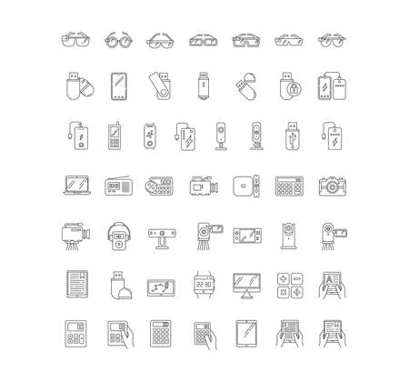 Mobile devices pixel perfect linear icons set. Smartphone, laptop, computer. E-reader, camera, powerbank. Customizable thin line contour symbols. Isolated vector outline illustrations. Editable stroke