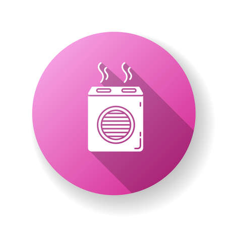 Modern air filter purple flat design long shadow glyph icon. Humidifying household appliance, water evaporator, home air purifier, room climate regulating equipment. Silhouette RGB color illustration