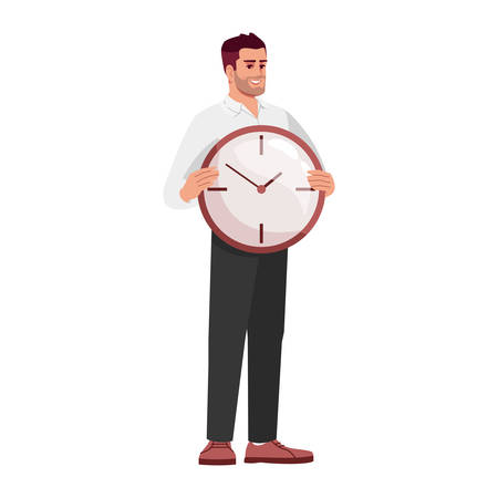 Workers time management skills semi flat RGB color vector illustration. Employee holding clock isolated cartoon character on white background. Meeting deadlines, self efficacy concept