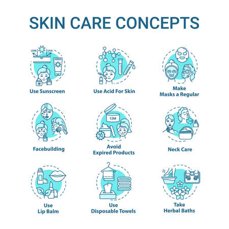 Skin care tips, cosmetology concept icons set. Face and body skin youth preservation, hygienic procedures idea thin line RGB color illustrations. Vector isolated outline drawings. Editable stroke