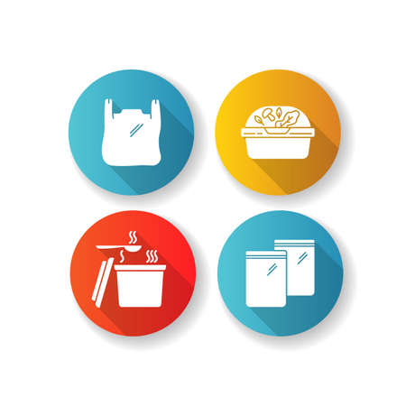 Takeout packages flat design long shadow glyph icons set. Plastic bag with handles, container with lid for salad, zip packet, hot food takeaway package. Silhouette RGB color illustrations Иллюстрация