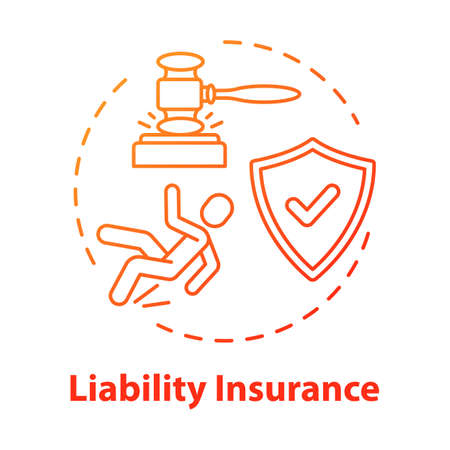 Liability insurance concept icon. Attorney and lawyer. Legal claim. Lawsuit for incident. Insured and guarded life. Accident idea thin line illustration. Vector isolated outline RGB color drawing Ilustração