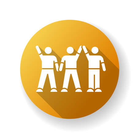 Friendly company yellow flat design long shadow glyph icon. Friendship, social communication, fellowship. Cheerful best friends group spend time together. Silhouette RGB color illustration