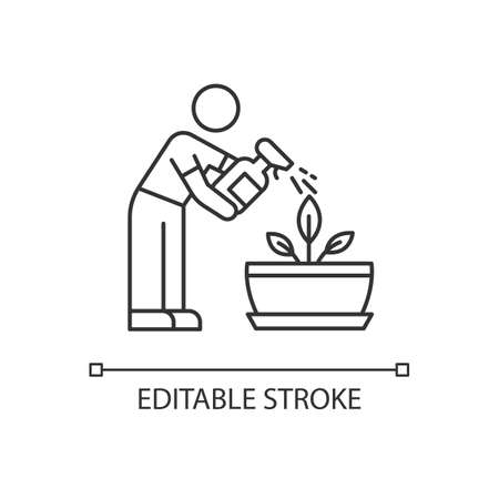 Spraying plants pixel perfect linear icon. Misting. Moisturizing, rehydrating, moistening. Thin line customizable illustration. Contour symbol. Vector isolated outline drawing. Editable stroke