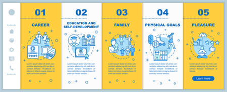 Self-development onboarding vector template. Physical goals. Academic education. Family planning. Responsive mobile website with icons. Webpage walkthrough step screens. RGB color concept Ilustração