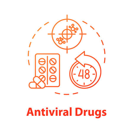 Antiviral drug concept icon. Pill for disease. Antibiotic for illness. Tablets for disease. Medication for flu. Influenza idea thin line illustration. Vector isolated outline RGB color drawing