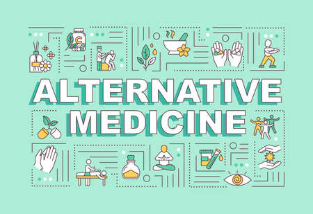 Alternative medicine word concepts banner. Complementary medical practices and techniques. Infographics with linear icons on mint background. Isolated typography. Vector outline RGB color illustration Vector Illustration