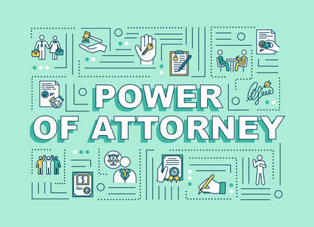 Power of attorney word concepts banner. Legal representative. Letter of authorization. Infographics with linear icons on green background. Isolated typography. Vector outline RGB color illustration