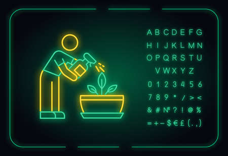 Spraying plants neon light icon. Misting. Moisturizing, rehydrating, moistening. Outer glowing effect. Sign with alphabet, numbers and symbols. Vector isolated RGB color illustration
