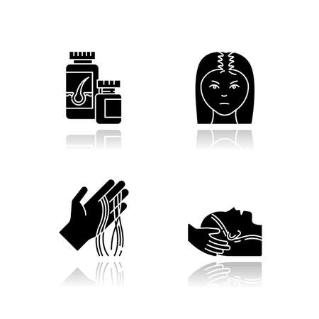 Hair loss drop shadow black glyph icons set. Female baldness. Alopecia treatment. Woman with thinning hair. Strands of hair on hand. Vitamin supplements. Isolated vector illustrations on white space