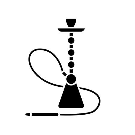 Hookah black glyph icon. Sheesha house. Party object. Nargile lounge. Odor from pipe. Scent of vaporizing. Smoking area. Silhouette symbol on white space. Vector isolated illustration Illustration