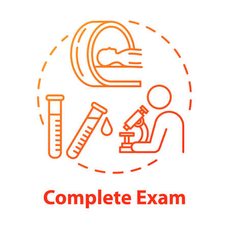 Complete exam concept icon. Data gathering. Illness examination. Disease diagnosis.Clinic test. Professional lab research idea thin line illustration. Vector isolated outline RGB color drawing