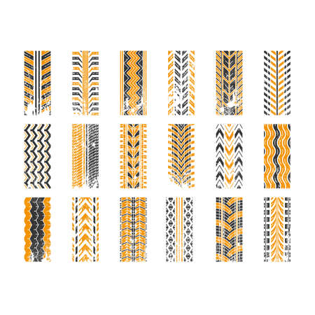Track tread black and yellow RGB color icons set. Detailed automobile, motorcycle tyre marks. Car summer and winter wheel trace. Tire trail in grunge style. Isolated vector illustrations on white