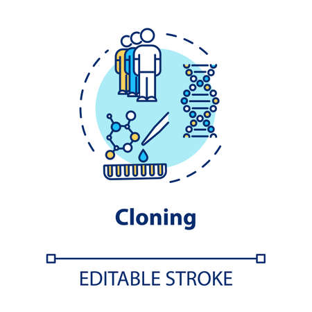 Cloning concept icon. Asexual reproduction. Biotechnology and genetic engineering. Reproductive technology idea thin line illustration. Vector isolated outline RGB color drawing. Editable stroke