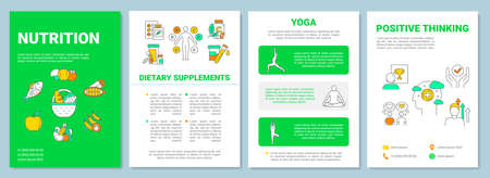 Healthy lifestyle brochure template. Balanced nutrition and yoga flyer, booklet, leaflet print, cover design with linear icons. Vector layouts for magazines, annual reports, advertising posters Ilustrace