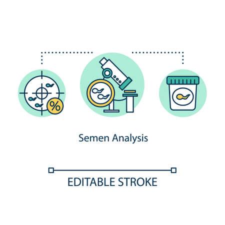Semen analysis concept icon. Sperm donor. Male reproductive cells. Microscopic analysis. In vitro fertilization idea thin line illustration. Vector isolated outline RGB color drawing. Editable stroke Vettoriali