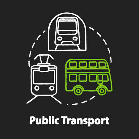 Public transport chalk RGB color concept icon. Affordable travel means, inexpensive tourism idea. Subway train, bus and tram Vector isolated chalkboard illustration on black background