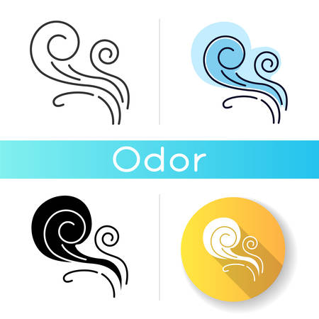 Wind whirl icon. Cold fresh air swirl. Whirlwind. Good smell, evaporation. Aromatic fragrance. Blowing wind spirals, fume. Linear black and RGB color styles. Isolated vector illustrations